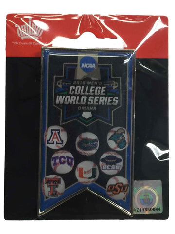2016 NCAA Omaha Baseball Men's College World Series 8-Team Banner Lapel Pin