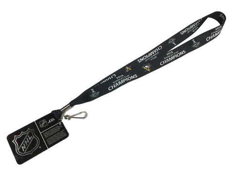 Pittsburgh Penguins 2016 Stanley Cup Champions Aminco Black Durable Lanyard