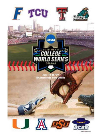 Official 2016 NCAA Baseball College World Series CWS 8 Team Logos Print Poster