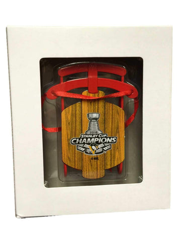 "Pittsburgh Penguins 2016 Stanley Cup Champions Metal ""Wood"" Sled Ornament"