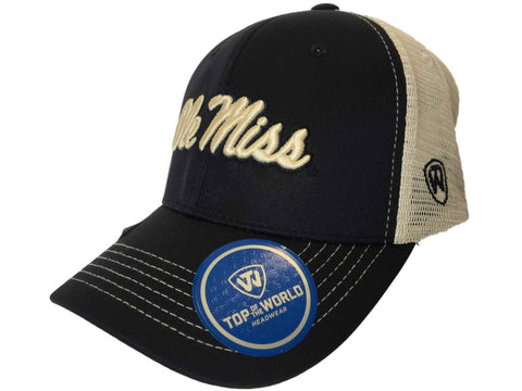 Ole Miss Rebels TOW Navy Ranger Mesh Adjustable Snapback Structured Hat Cap - Sporting Up