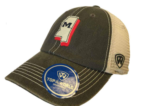 Ole Miss Rebels TOW Gray United Mesh Adjustable Snapback Slouch Hat Cap - Sporting Up