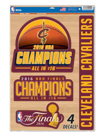 Cleveland Cavaliers 2016 NBA Champions Removable Reusable Multi-Use Decal 4 Pack