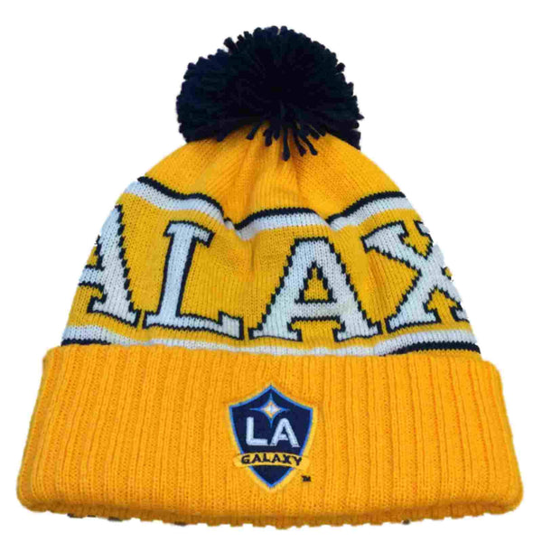 03c9ad09191 LA Galaxy MLS Adidas Yellow Acrylic Knit Beanie Hat Cap with Large Poof  Ball