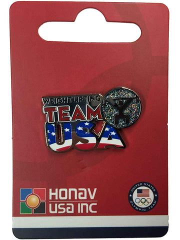 "2016 Summer Olympics Rio Brazil ""Team USA"" Weightlifting Pictogram Lapel Pin - Sporting Up"