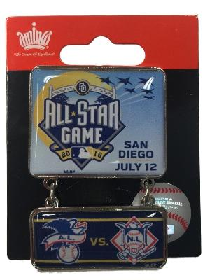 2016 All-Star Game San Diego Aminco Dueling  A.L. & N.L. Teams Dangler Lapel Pin