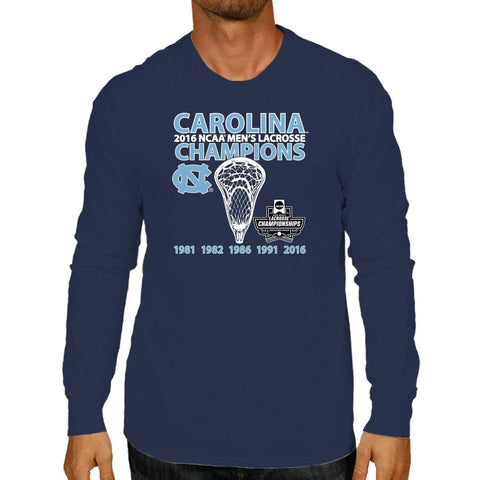 premium selection d220a e61a2 Shop North Carolina Tar Heels 2016 College Lacrosse Champions Long Sleeve T- Shirt
