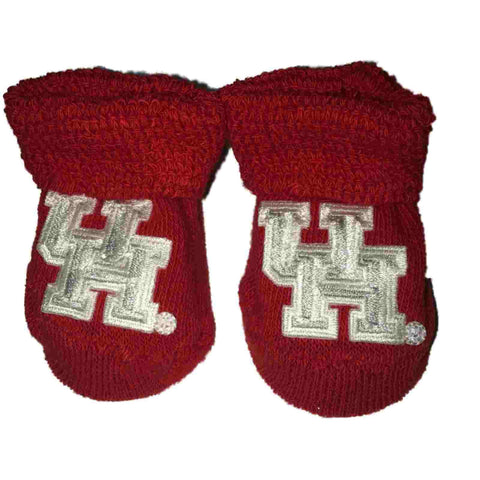 "Houston Cougars Two Feet Ahead Infant Baby Newborn Red ""UH"" Logo Socks Booties"