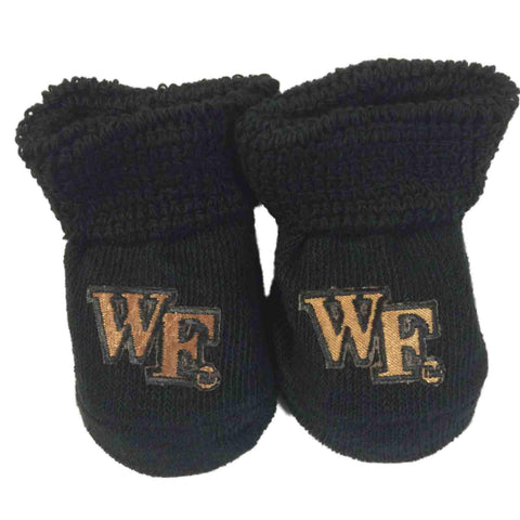 Wake Forest Demon Deacons Two Feet Ahead Infant Baby Newborn Black Socks Booties - Sporting Up