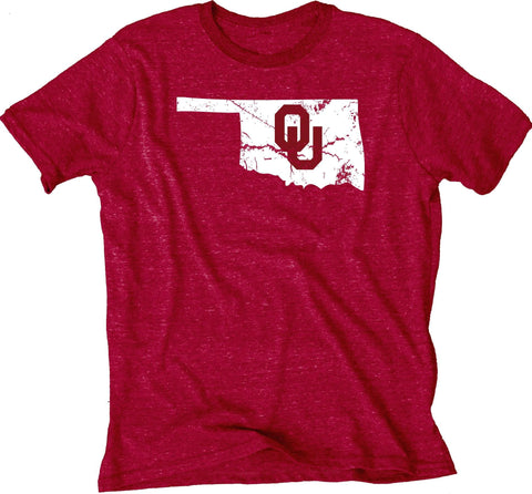 Oklahoma Sooners Blue 84 Red State Outline Tri-Blend Short Sleeve T-Shirt