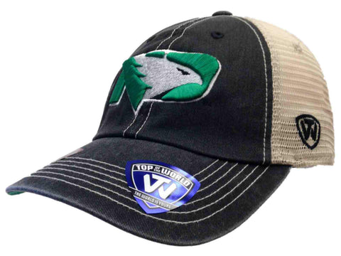 North Dakota Fighting Hawks Black New Logo Vintage Mesh Adjustable Snap Hat Cap