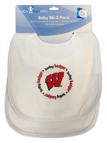 Wisconsin Badgers Baby Fanatic Infant Baby White Circular Logo Bib 2-Pack