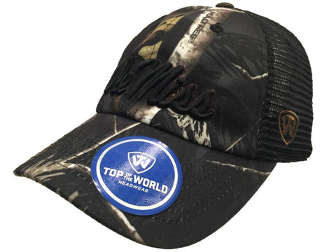 Ole Miss Rebels TOW Black Realtree Camo Harbor Mesh Adjustable Snapback Hat Cap - Sporting Up