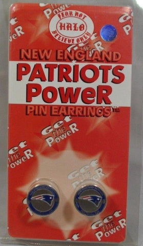 New England Patriots Halo Sports Inc. Womens Power Pin Circular Stud Earrings