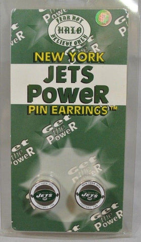 New York Jets Halo Sports Inc. Womens Power Pin Circular Stud Earrings