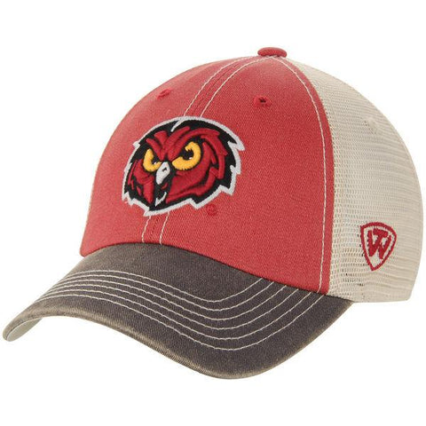 Temple Owls Top of the World Red Gray Offroad Mesh Adjustable Snapback Hat Cap