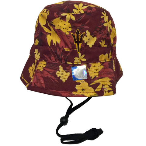 Shop Arizona State Sun Devils TOW Maroon & Yellow Floral Luau Bucket Hat Cap