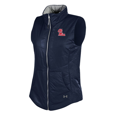 Ole Miss Rebels Under Armour WOMEN Navy ColdGear Storm1 Full-Zip Loose Vest