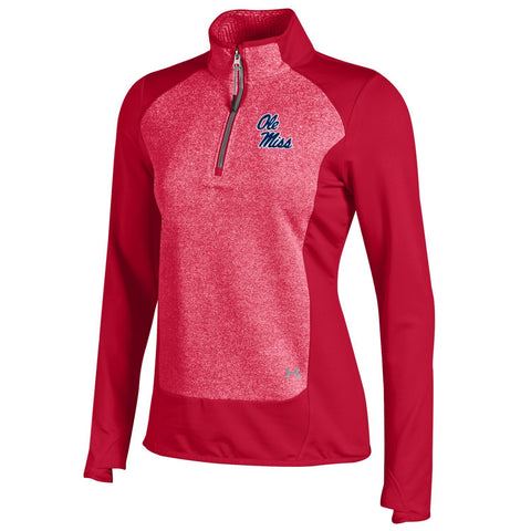 Ole Miss Rebels Under Armour WOMEN Red Infrared 1/4 Zip ColdGear Pullover