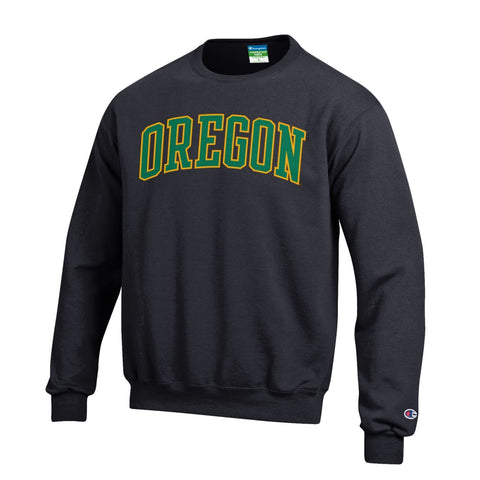 Oregon Ducks Champion Black Powerblend Fleece Crew Pullover Sweatshirt