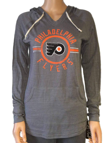 Philadelphia Flyers SAAG Women's Gray Tri-Blend Hooded V-Neck T-Shirt
