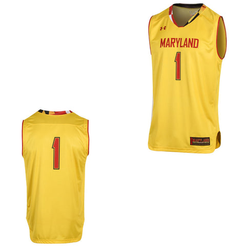 Maryland Terrapins Under Armour Gold #1 On-Court Basketball Replica Jersey