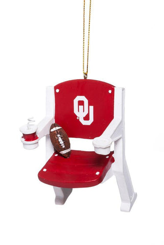 Oklahoma Sooners Team Sports Red & White Stadium Chair Christmas Tree Ornament