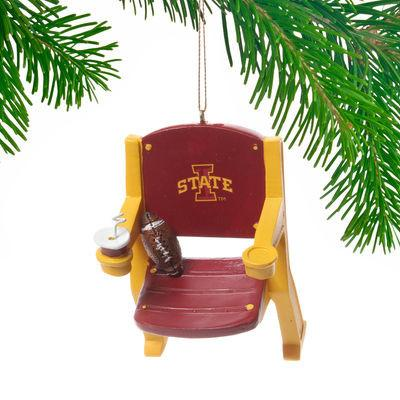 Iowa State Cyclones Team Sports Red Yellow Stadium Chair Christmas Tree Ornament