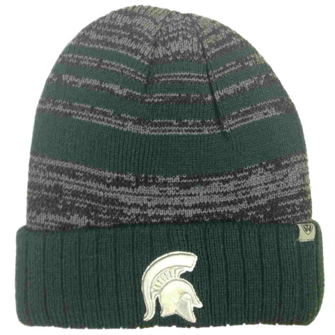 Michigan State Spartans TOW Green Gray Echo Striped Cuffed Winter Hat Cap Beanie