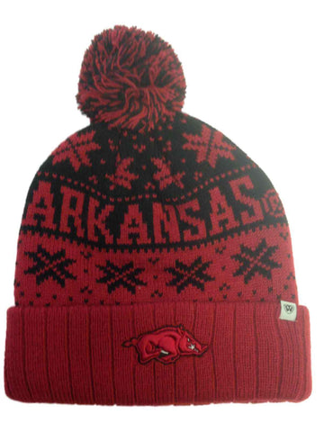 Shop Arkansas Razorbacks TOW Red Subarctic Snowflake Poofball Cuffed Hat Cap Beanie
