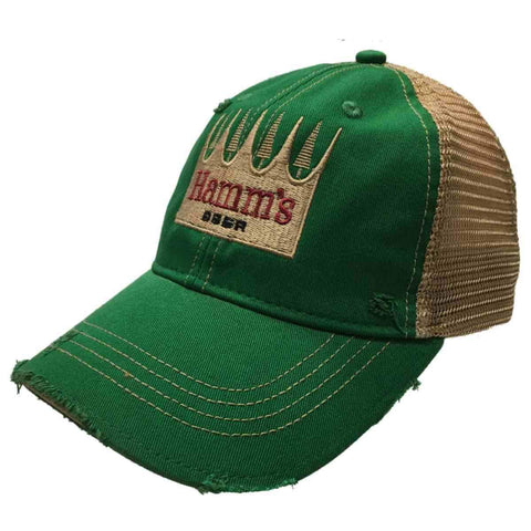 b17d97df55ae2 Hamm s Brewing Company Retro Brand Green Vintage Mesh Beer Adjustable Hat  Cap