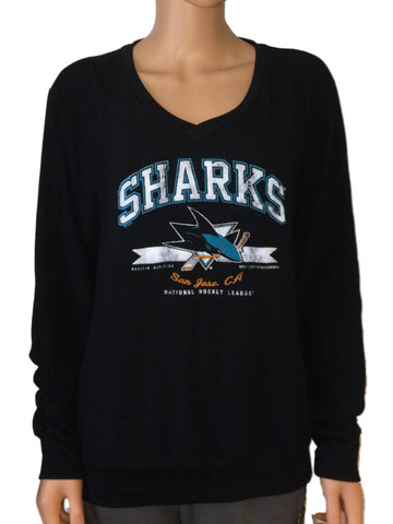 San Jose Sharks SAAG Women's Black Tri-Blend Ultra Soft V-Neck Sweater