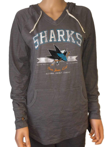 San Jose Sharks SAAG Women's Gray Tri-Blend Hooded V-Neck T-Shirt