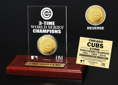 Chicago Cubs 3-Time World Series Champions 24K Gold Coin Etched Acrylic Plaque