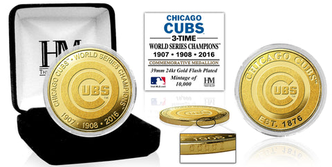 Chicago Cubs 3-Time World Series Champions Highland Mint Gold Mint Coin
