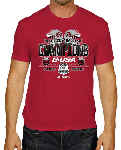 ce66726c Shop Western Kentucky Hilltoppers Back to Back Football CUSA Conf Champs T- Shirt