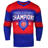 Chicago Cubs 2016 World Series Champions Red & Blue Striped Ugly Sweater
