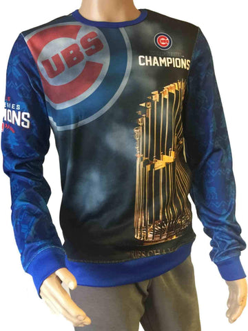Chicago Cubs 2016 World Series Champions Trophy Big Logo Ugly Sweater