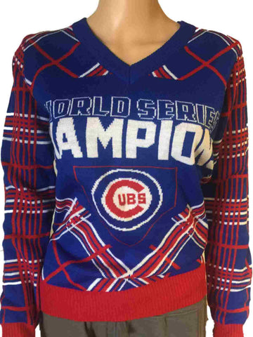 Chicago Cubs 2016 World Series Champions Women's V-Neck Ugly Sweater