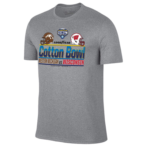 Western Michigan Broncos Wisconsin Badgers 2017 Cotton Bowl Helmet T-Shirt