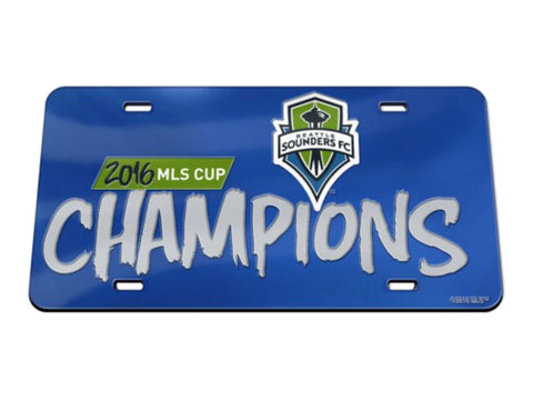 Seattle Sounders 2016 MLS Cup Champions Crystal Mirror License Plate Cover