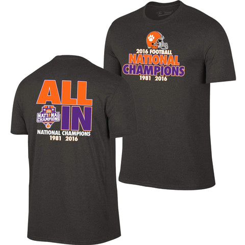 964b4aaea9f Clemson Tigers Victory 2016 College Football National Champions All In T- Shirt
