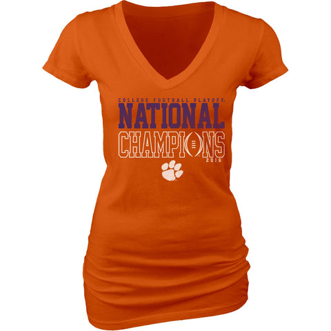 Shop Clemson Tigers JR WOMEN 2016 College Football Champions Orange V-Neck T-Shirt