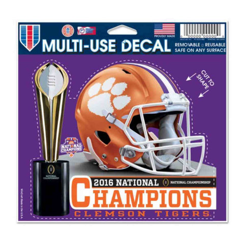 "Clemson Tigers 2016 Football National Champions Multi-Use Decal (4.5"" x 5.75"")"