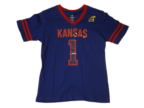 Kansas Jayhawks Colosseum Girls Blue Sequin Logo SS Jersey Style T-Shirt (XL)