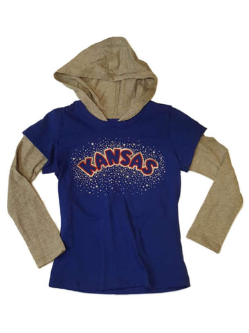 Kansas Jayhawks Colosseum Girls Blue Metallic Star Logo LS Hooded T-Shirt (XS)