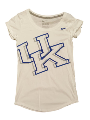Kentucky Wildcats Nike Slim Fit Women White Cuff Sleeve Scoop Neck T-Shirt