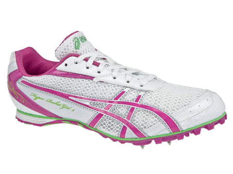Shop Asics Hyper-RocketGirl 5 Women's White Pink Track Sprinting Cleat Shoes