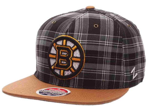 Boston Bruins Zephyr Black Gold Gaelic Snap Plaid Adjustable Snapback Hat Cap