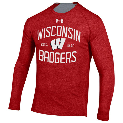 Shop Wisconsin Badgers Under Armour Red HeatGear Anti-Odor Long Sleeve T-Shirt